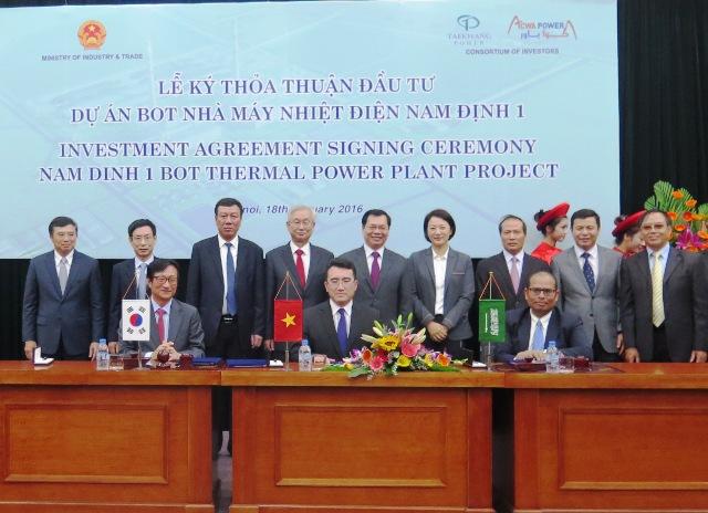 Dự án BOT nhà máy Nhiệt điện Nam Định 1 đặt
