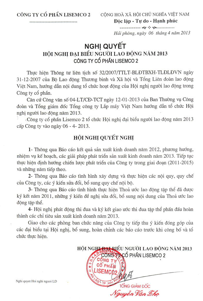 NGHỊ QUYẾT HỘI NGHỊ NGƯỜI LAO ĐỘNG NĂM 2013
